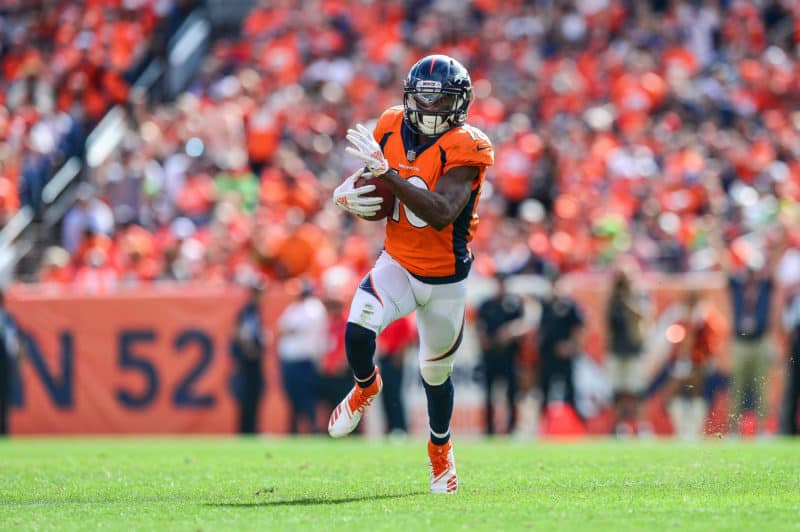 Emanuel Sanders catches a pass in Denver during September