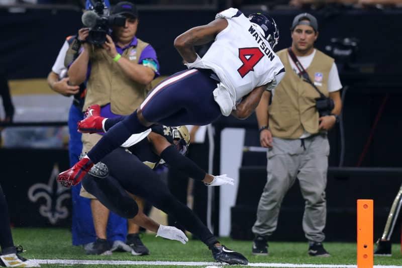 Deshaun Watson dives into the end zone against the Saints