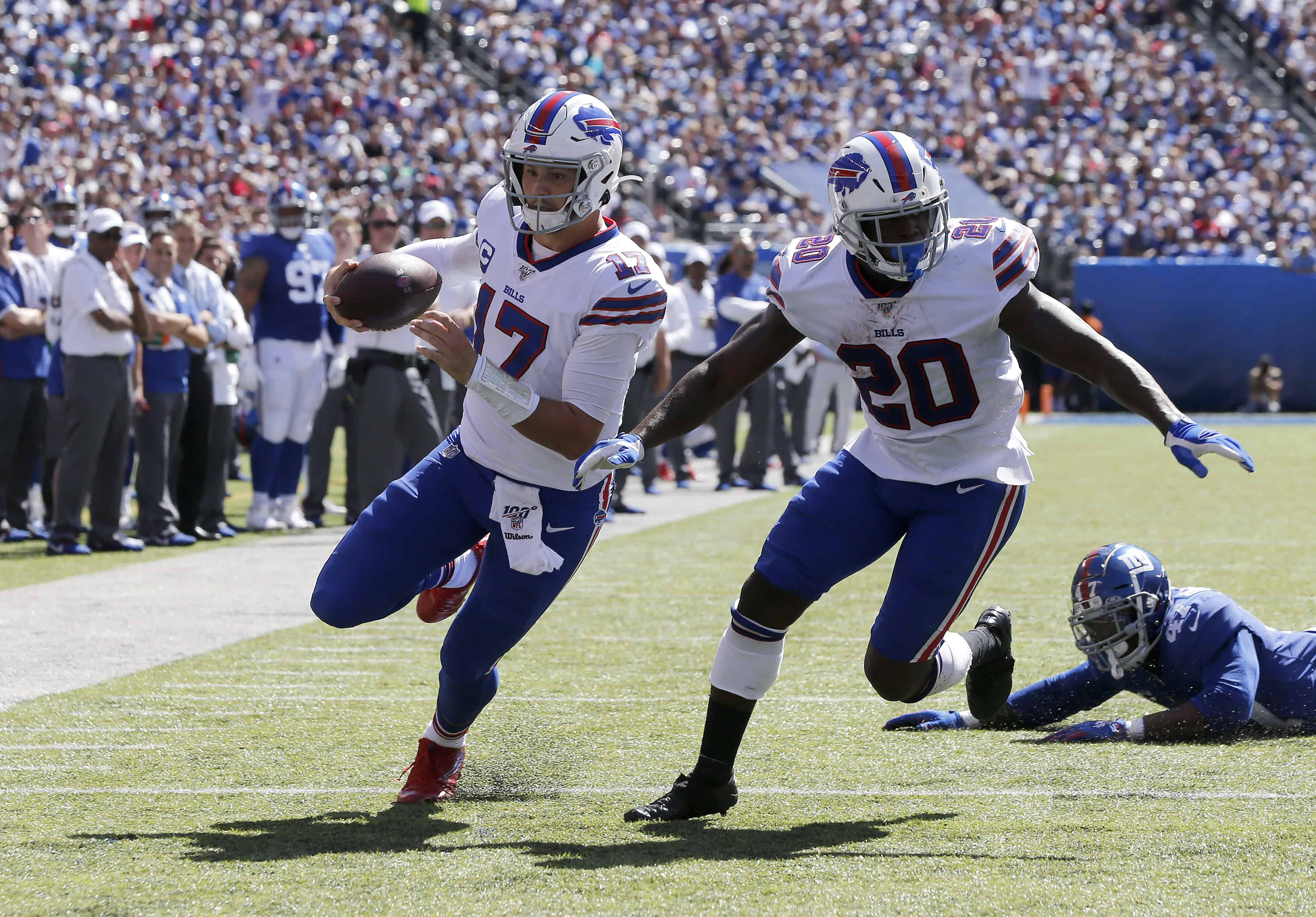 Josh Allen rushes for a touchdown with Frank Gore against the Giants