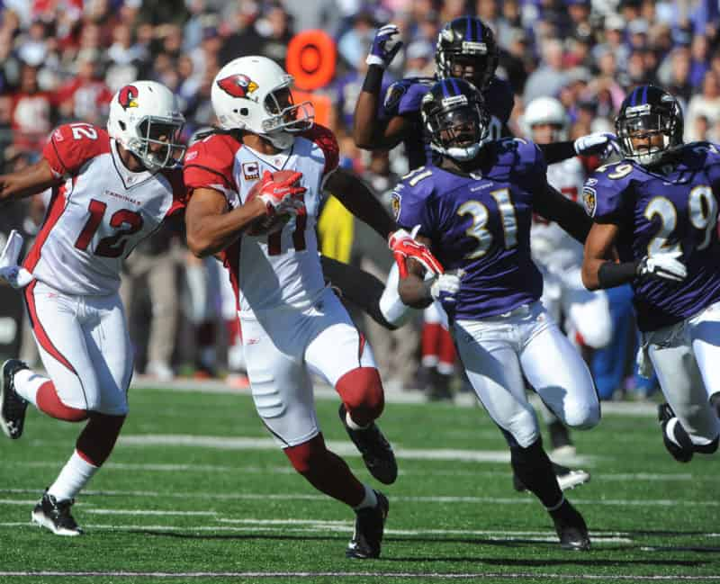 Larry Fitzgerald catches pass against Ravens