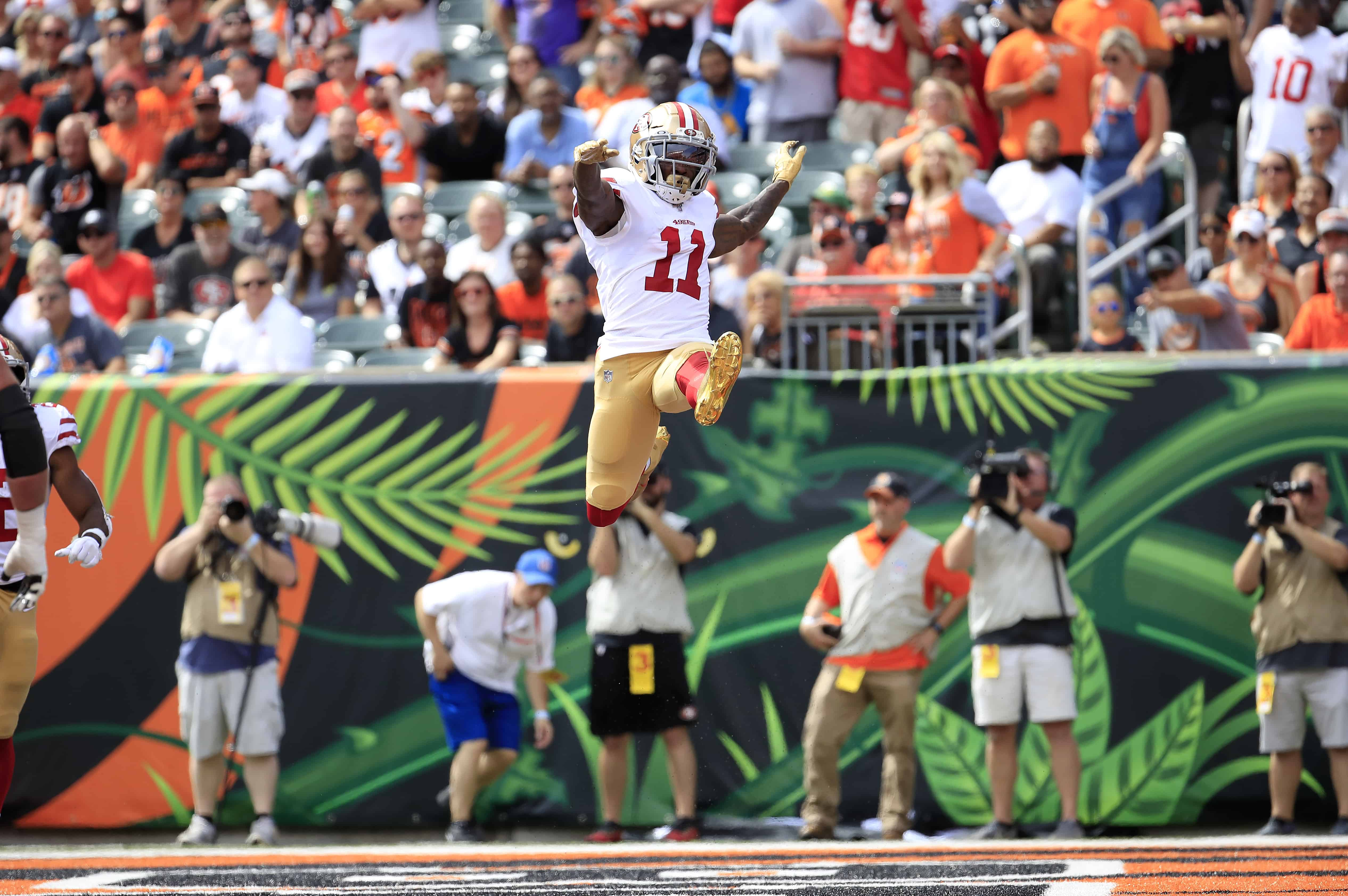 Marquise Goodwin celebrates a touchdown