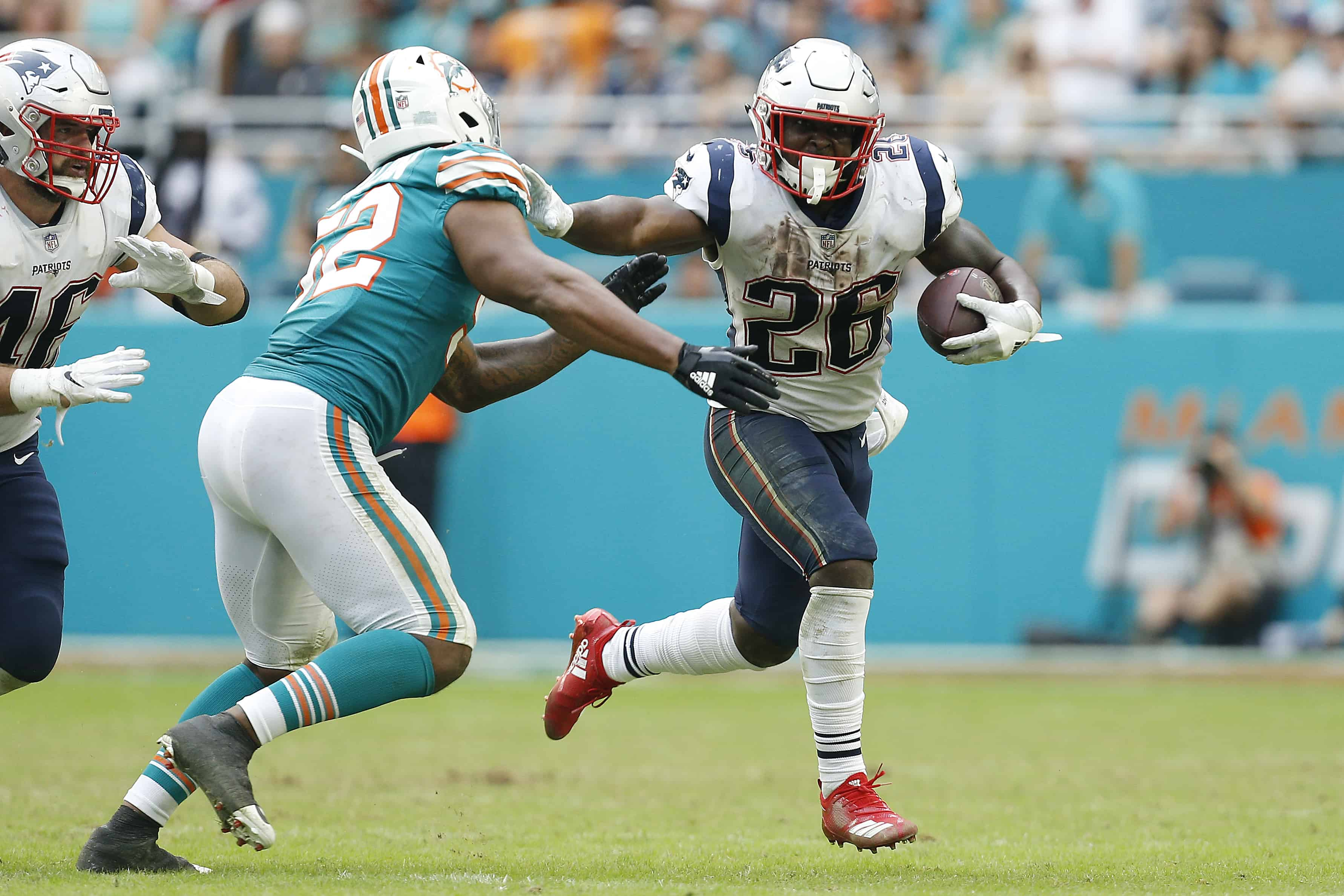 Sony Michel breaks tackle vs Dolphins